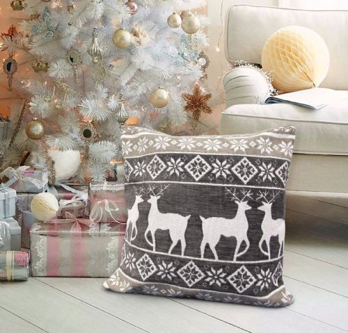 CHRISTMAS THEMED FESTIVE XMAS DESIGN CUSHION COVER CHARCOAL STAG